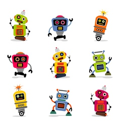 cute robots set 2 vector image