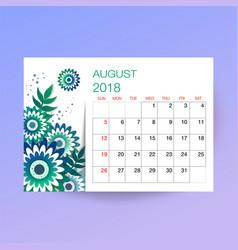 Design floral template calendar 2018 vector