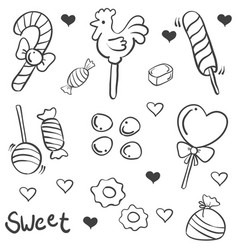 doodle of candy various sketch collection vector image vector image