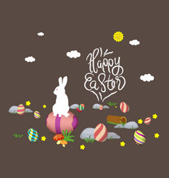 easter bunny card happy easter with eggs vector image vector image