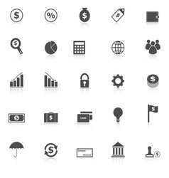 Finance icons with reflect on white background vector