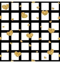 Golden hearts stripes seamless pattern vector