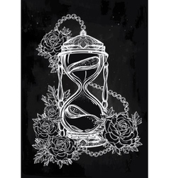 Hand drawn design of hourglass with roses vector image vector image