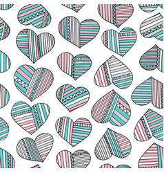 Hearts and stripes hand drawn abstract pattern vector