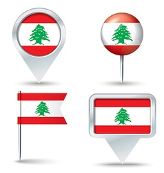 Map pins with flag of Lebanon vector image