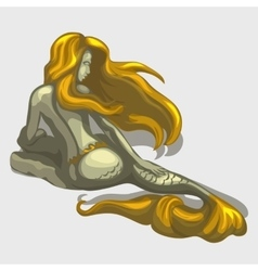 Mermaid sculpture with golden hair and tail vector
