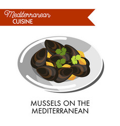 Mussels on the mediterranean served on plate with vector