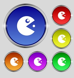 Pac man icon sign round symbol on bright colourful vector