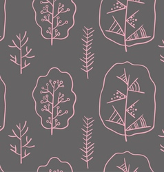 Pink trees pattern vector image vector image