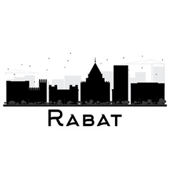 Rabat City skyline black and white silhouette vector image vector image