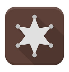 Sheriff star flat app icon with long shadow vector