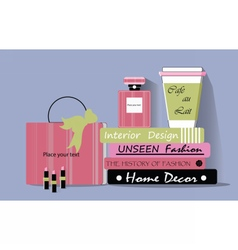Shopping bag coffee and accessories vector