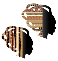 Silhouette of the head of an African woman vector image vector image