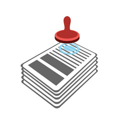 stamp on documents icon punch contract approval vector image