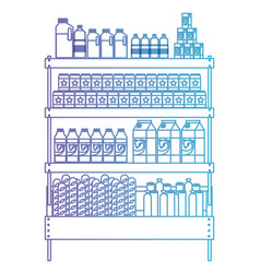 Supermarket shelf with foods and beverages in vector