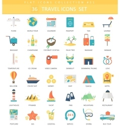 Travel color flat icon set Elegant style vector image