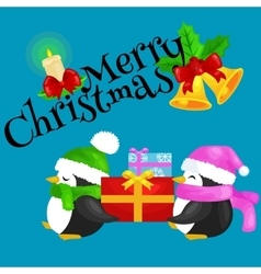 two happy cute Christmas penguin in hat and scarf vector image vector image