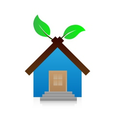 vector icon house with leaf vector image