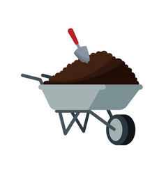 Wheelbarrow with soil over white vector