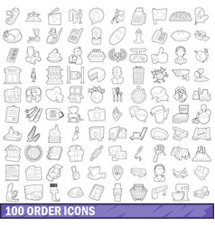 100 order icons set outline style vector