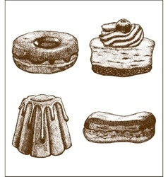 Set of doughnut pastry cake eclair vector