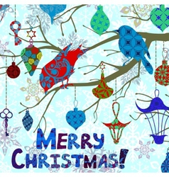 Bright Christmas card with birds and decorations vector image