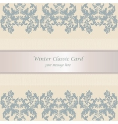 Baroque winter invitation card vector