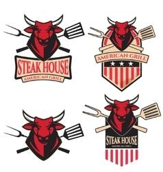 Steak house set of the emblems with kitchen tools vector