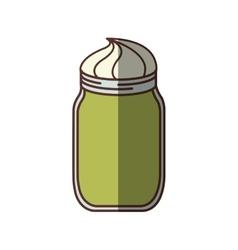 green glass jar with cream dessert shadow vector image