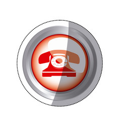 Sticker circular button red old phone icon vector