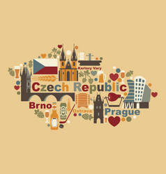 the map of czech republic vector image
