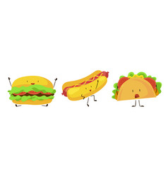 Cute cartoon fast food icons set vector