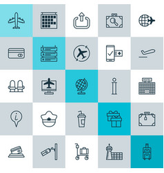 Traveling icons set collection of plane schedule vector