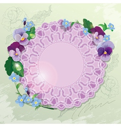 Birthday valentines day or wedding card with pansy vector