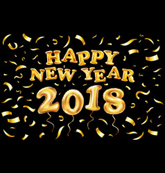 2018 happy new year gold ballon black background vector
