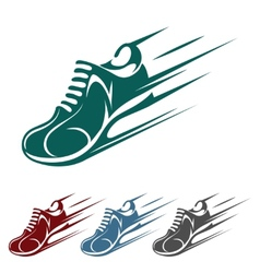 Speeding running shoe icons vector image