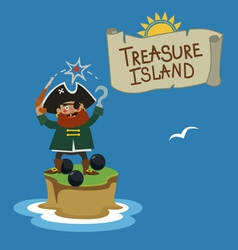 Treasure island with pirate vector