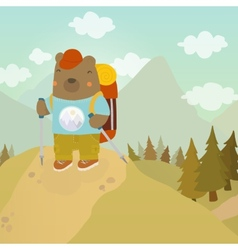 Cartoon bear adventure tourist vector