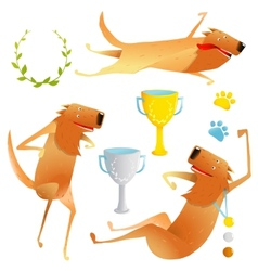 Winning red happy dog contest with cups and medals vector
