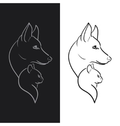 Hand drawn dog and cat sketched vector