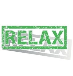 Green outlined relax stamp vector