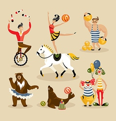 Set of circus characters vector image