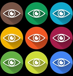 Icon of eye colorful set flat style vector