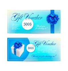 Set of blue gift vouchers with ribbons vector