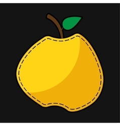 Seam yellow apple with shadow vector