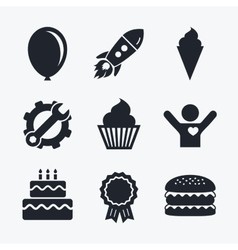 Birthday party icons cake with ice cream symbol vector