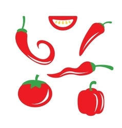 Red chili pepper icons set vector