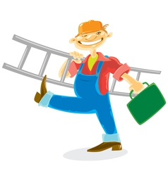 Worker with ladder vector