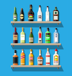 Alcohol drinks collection bottles on shelf vector
