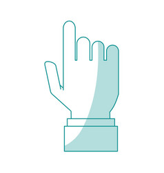 Blue silhouette shading hand pointing to front vector